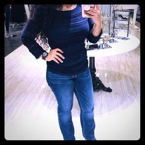 Blue quarter sleeve blouse